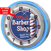 Personalized Blue Neon Barber Shop Clock
