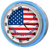 American Flag Blue Neon Clock