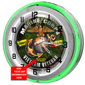 Vietnam Veteran Green Neon Clock