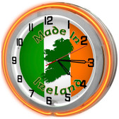 Ireland Flag Orange Neon Clock