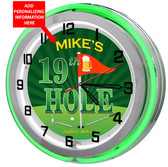 Golfers personalized neon clock