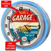 Customized Neon Garage Clock