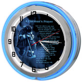 Firefighter Prayer Neon Light Clock