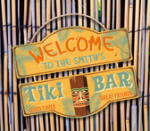 Patio Tiki Bar Welcome Personalized Wall Sign