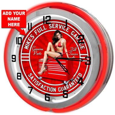 Personalized Neon Garage Clock