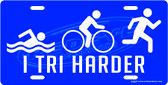 Triathlon Blue License Plate Tag