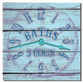 Vintage Bath Sign Bathroom Clock