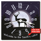 Personalized Deer Cabin Clock