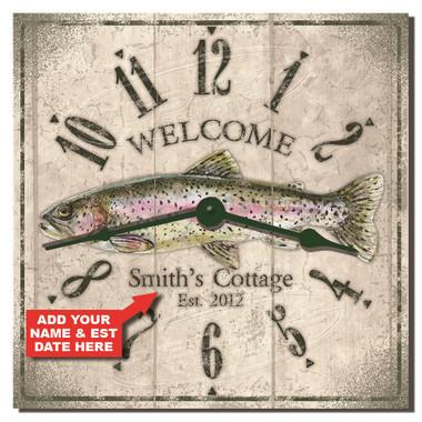 Trout Cottage Personalized Decorative Kitchen Clock