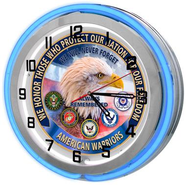 American Heroes Blue Neon Clock