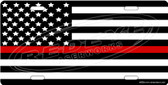 Firefighter Flag License Plate Tag