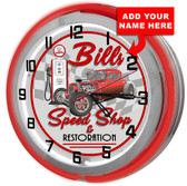 Personalized Speed Shop Double Neon Light Garage Clock