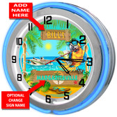 Personalized Margaritaville Double Neon Light Garage Clock