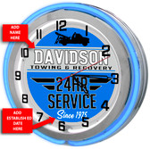 Personalized Towing Wrecker Service Double Neon Light Garage Clock