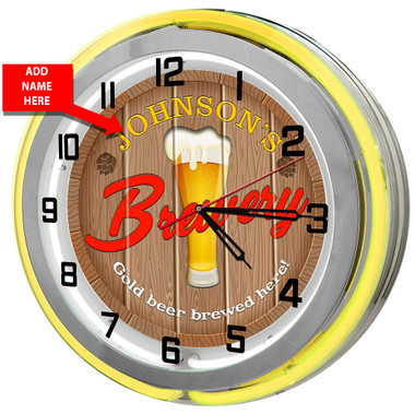 Personalized Brewery Double Neon Light Garage Clock