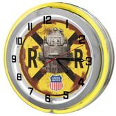"""Union Pacific Railroad 18"""" Yellow Double Neon Clock"""