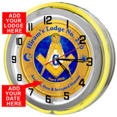 "Free Masons 18"" Yellow Double Neon Light Garage Clock"