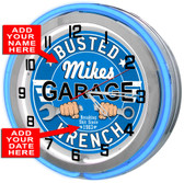 Customized Busted Wrench Double Neon Light Garage Clock
