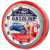 Vintage Gasoline Pump Garage Red Double Neon Light Garage Clock
