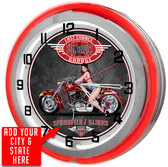 Motorcycle Garage Red Double Neon Light Garage Clock