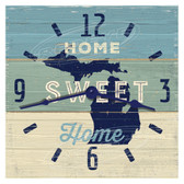 Michigan Home Sweet Home Blue Decorative Wall Clock