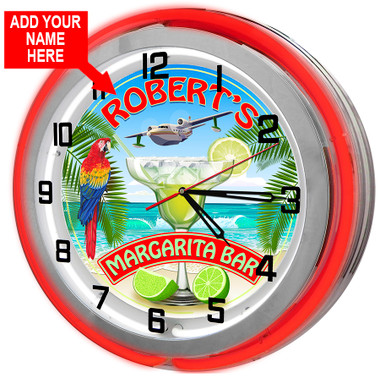 Customized Margarita Bar Red Neon Clock
