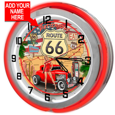 Customized Route 66 Red Neon Garage Clock