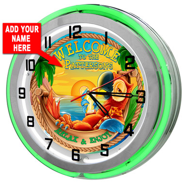 Customized Tiki Bar Parrot Neon Clock