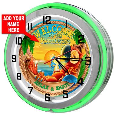 Customized Tiki Bar Parrot Neon Clock