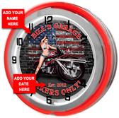 Biker Garage Neon Clock