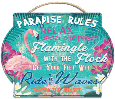 Paradise Rules Wall Sign