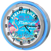 Paradise Rules Neon SIgn Clock