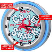 Personalized Crab Shack Neon Clock Sign
