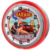 Last Chance Garage Neon Clock Sign
