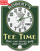 Personalized Golfing themed wall clock.