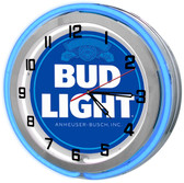 Bud Light Blue Neon Clock
