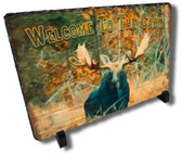 Moose Wilderness Decorative Cottage Welcome Stone Plaque