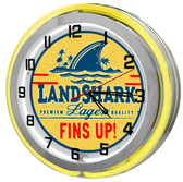 "Landshark Lager 18"" Yellow Double Neon Garage Clock"