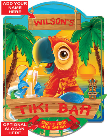 Personalize tiki bar wall sign