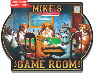 Personalized Dogs Playing Poker Wall Sign