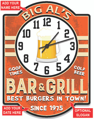 Bar and Grill Sign Orange