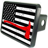 American Flag Firefighter Axe Trailer Hitch Plug Cover