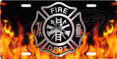 Firefighter Emblem on Flames License Plate Tag