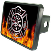 "Firefighter Emblem on Flames 2"" Trailer Hitch"