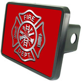"Firefighter Emblem on Red 2"" Hitch Cover"