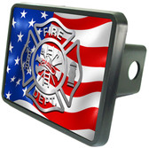 "Firefighter American Flag 2"" Trailer Hitch Plug"
