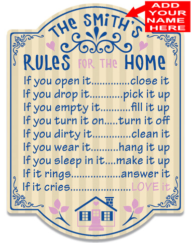 House Rules Customized Kitchen Sign
