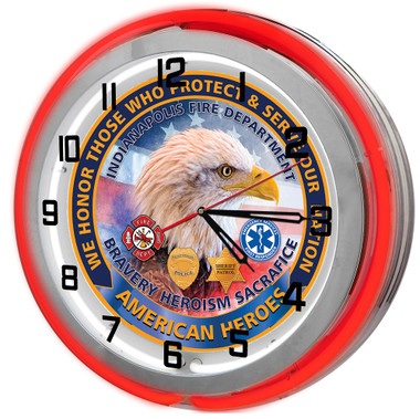 Police and Fire Patriotic Customized Neon Clock
