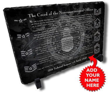 Personalized Air Force NCO Creed Stone Plaque