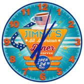 Personalized Retro Americana Diner Wall Clock